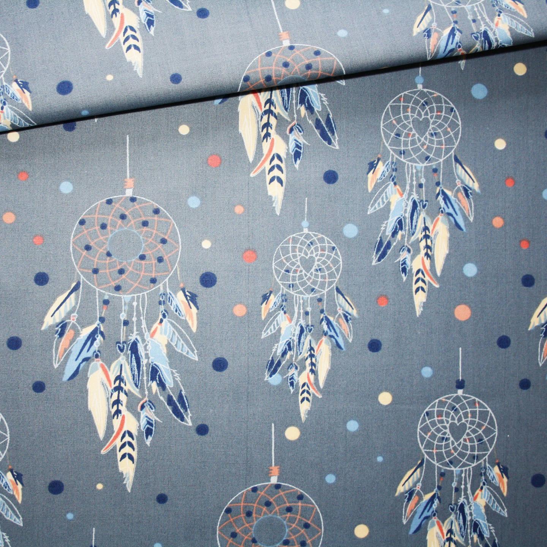 Tissu attrape-rêves, 100% coton imprimé 50 x 160 cm, capteurs de rêves sur fond bleu denim