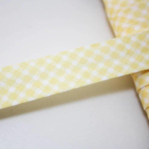 Biais vichy jaune pastel et blancs, carreaux, 18 mm, plié, rayé