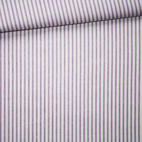 Tissu rayures, 100% coton imprimé 50 x 160 cm, motif rayures violettes et blanches
