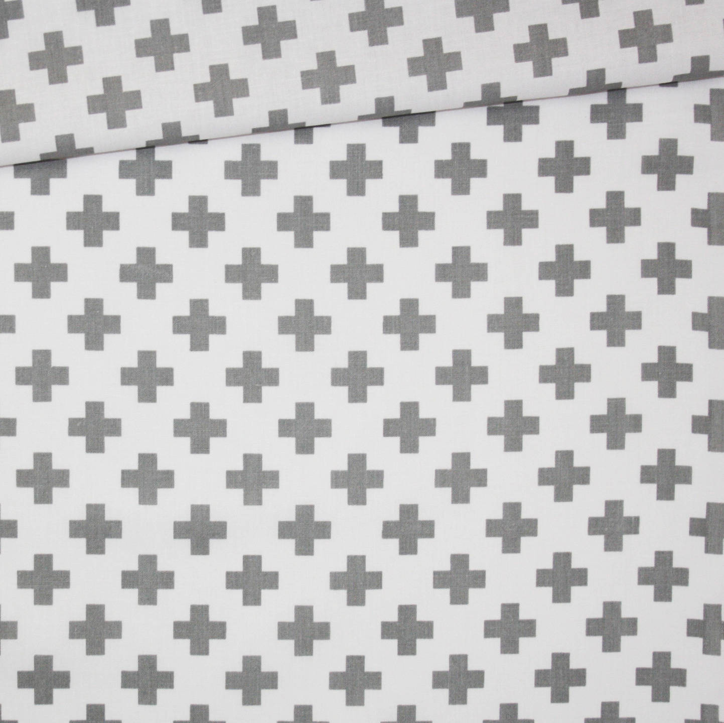 Tissu croix, 100% coton imprimé 50 x 160 cm, motif croix, plus, gris sur fond blanc