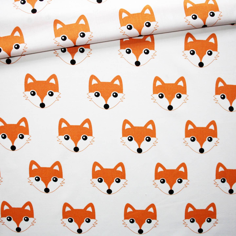 Tissu renard, 100% coton imprimé 50 x 160 cm, têtes de renards oranges sur fond blanc