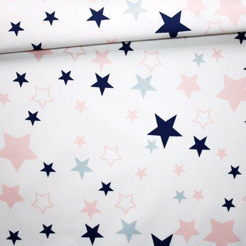 Tissu étoiles, 100% coton imprimé 50 x 160 cm, motif étoiles roses, grises et bleu foncé sur fond blanc