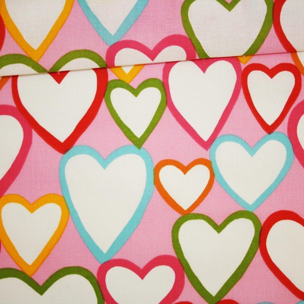 Tissu cœurs, 100% coton imprimé 50 x 160 cm, cœurs sur fond rose, Saint Valentin