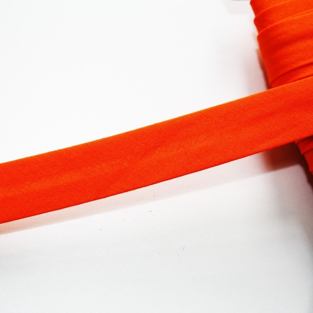 Biais coton orange uni 18 mm, plié, pré-plissé, biais universel