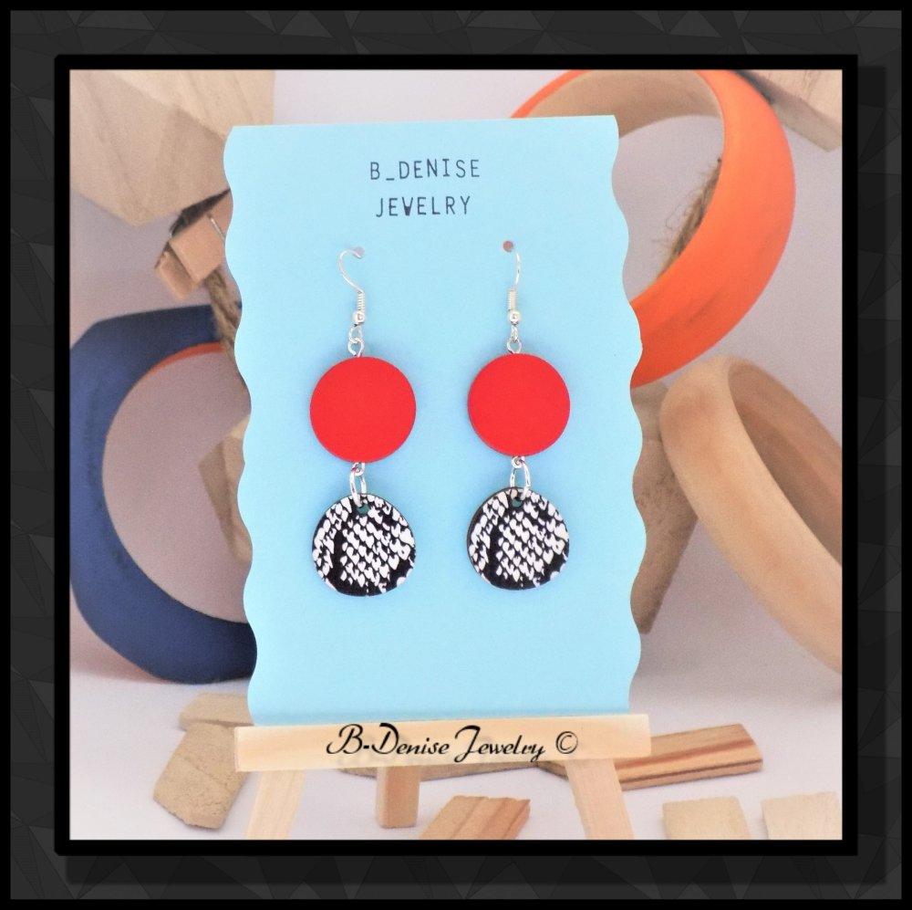 Boucles d'oreilles originales pour femmes !! SERPENT ROUGE !! en bois et métal argenté T2.cm x 6.5cm B-deniseJewelry Creation