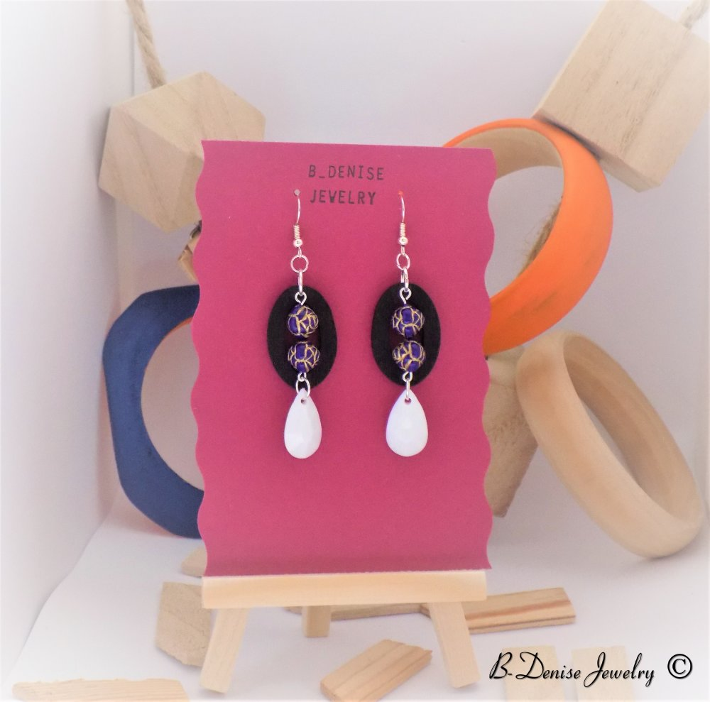 Original Women's earrings !! DONAPEARL !! in wood and silver metal T2.cm x 7cm B-deniseJewelry Creation