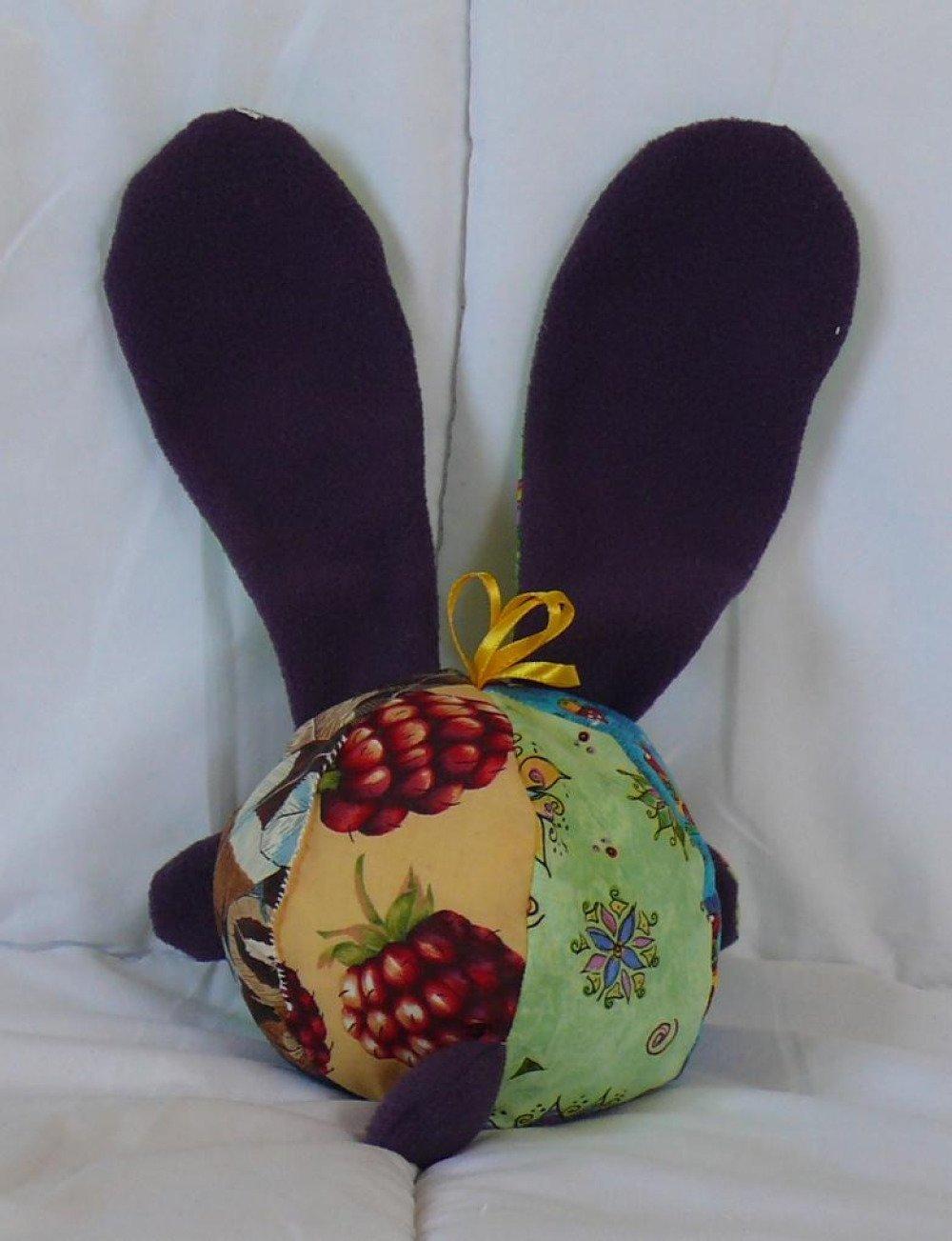 lapin N°12 doudou multicolore, grandes oreilles
