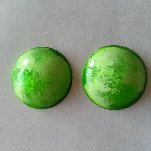 Duo de cabochons en resine epoxy de 30 mm de diamètre
