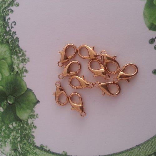 Fermoirs mousquetons dores 15 mm - lot de 10 -