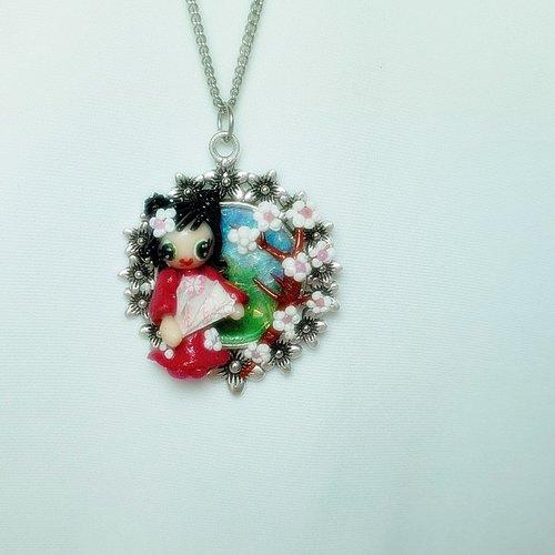 Collier enfant acier inoxydable, pendentif cerisier  japonais, support fleur, bijoux acier inoxydable