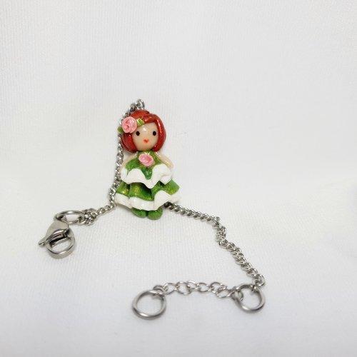 Bracelet poupée enfant, bijoux enfant acier inoxydable, bracelet fille réglable