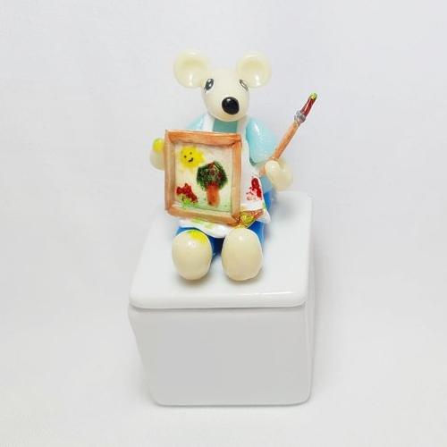 Boite à dents,souris phosphorescente, cadeau naissance, peinture, accessoire chambre enfant, objet décoratif bébé