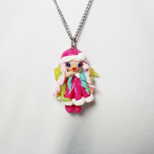 Collier enfant acier inoxydable, poupée miniature, pendentif fimo, licorne,