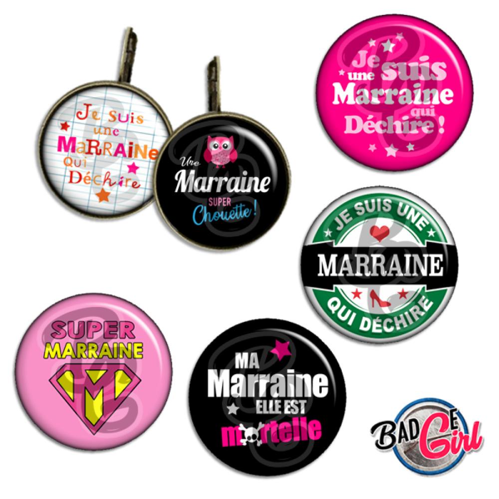 Pour toi Marraine ☆ 45 Images Digitales Numériques RONDES 30 25 et 20 mm Page de collage digital pour cabochons
