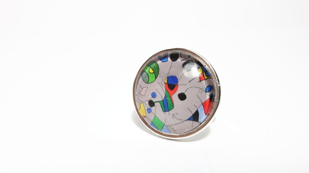 Bague ronde façon Miro, bague très originale, bague unique !