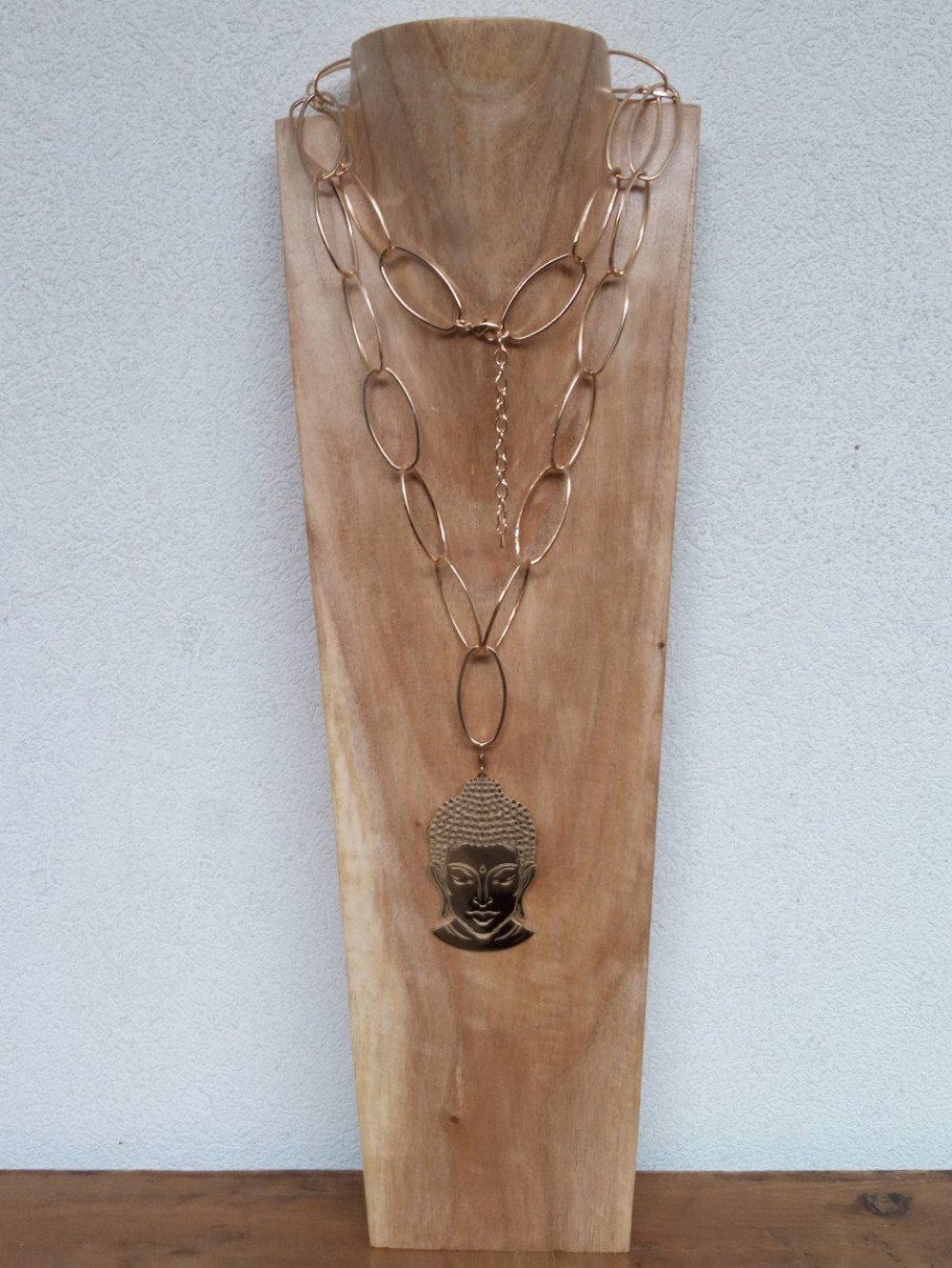 Sautoir - doré à l'or fin - chaîne gros maillons ovales - pendentif visage de Bouddha - acier chirurgical inoxydable 316L - Bahia Del Sol