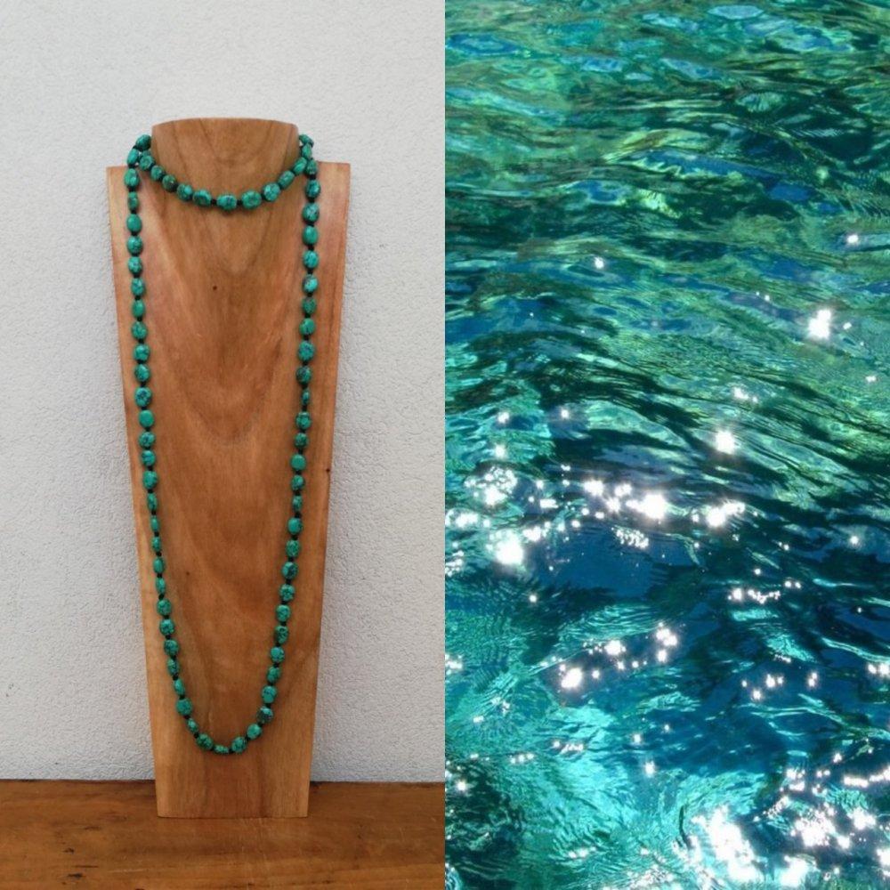 Sautoir noué en perles pierre turquoise - Collier long - Pierres fines - Bahia del sol.
