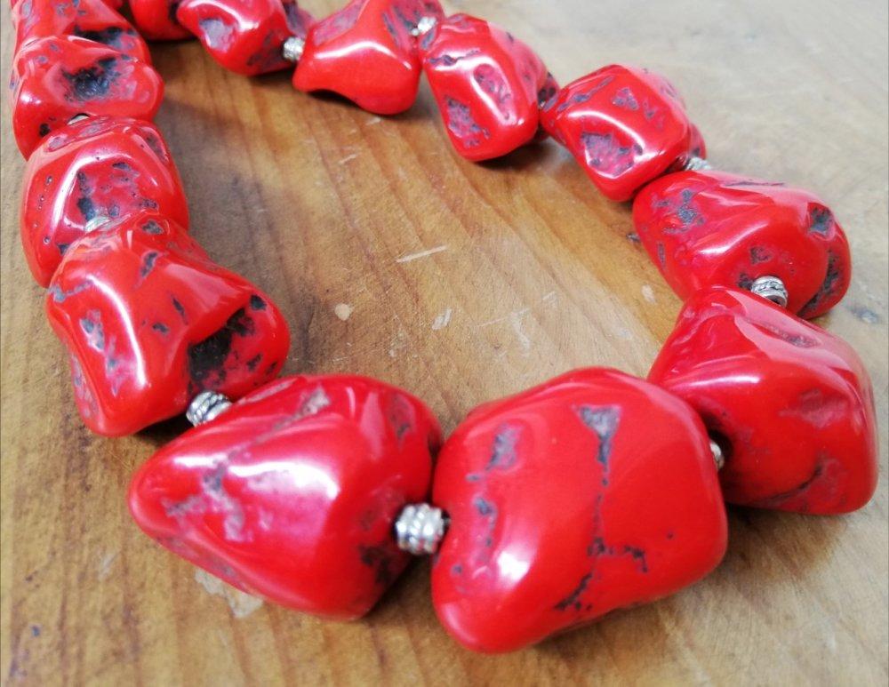Collier long - Grosses perles rouges - Bijou XXL - Sautoir en perles - Bahia Del Sol