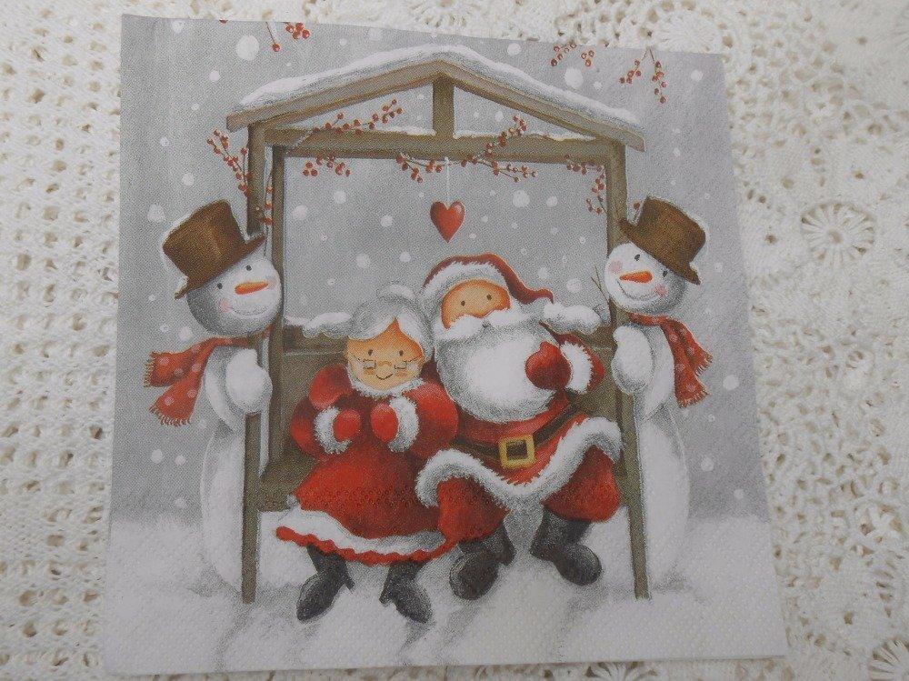 serviette en papier famille Noël