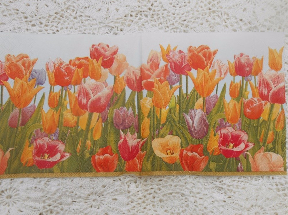 serviette en papier tulipes mélangées