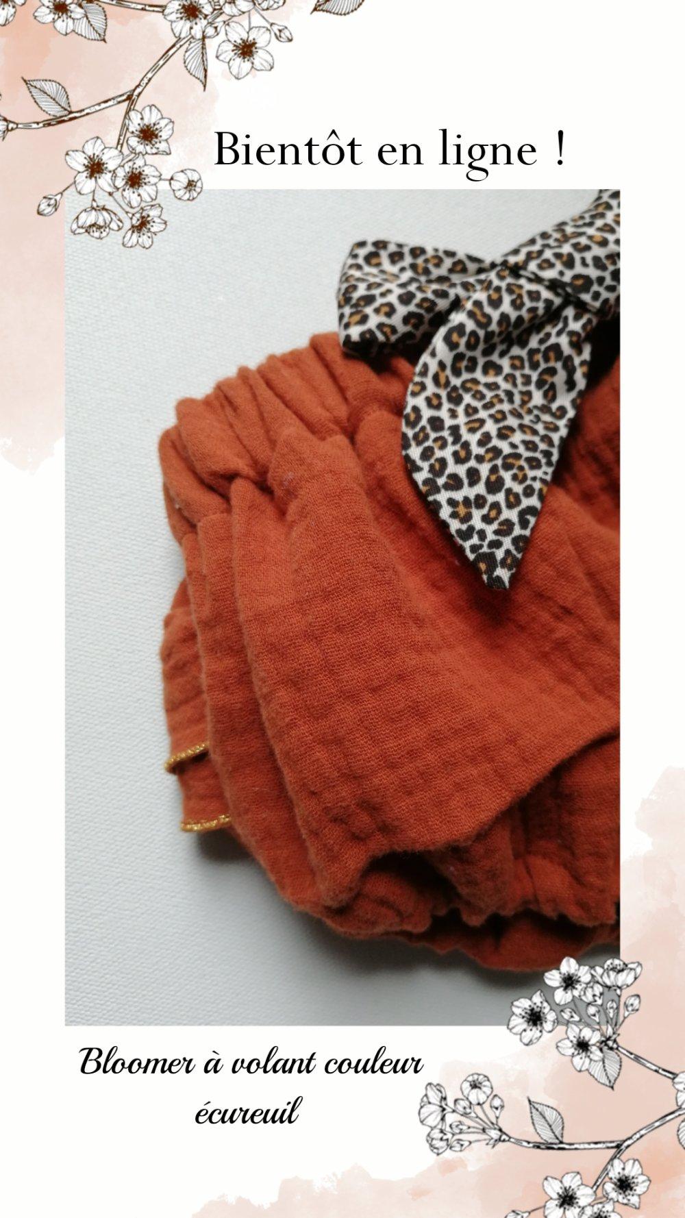 Bloomer à noeud interchangeable avec volants couleur écureuil