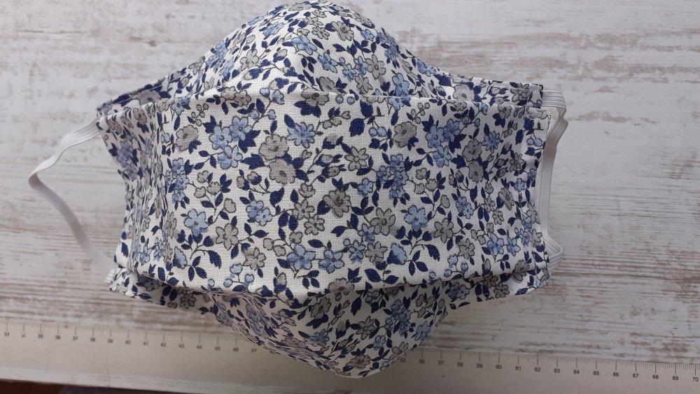 """Masque en tissu- modèle  """" Fleur bleue"""""""