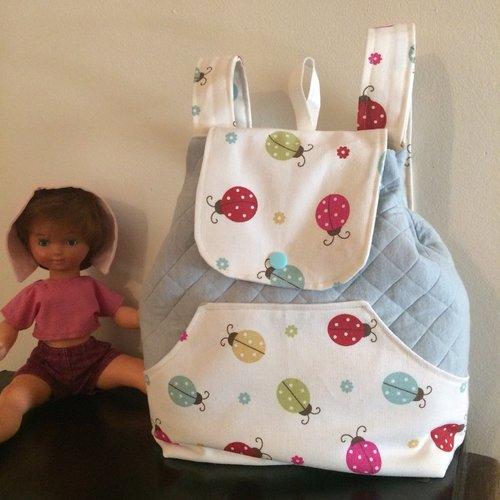 """Sac maternelle fillette """"coccinelles"""", sac à dos bleu pastel, sac à goûter coccinelles"""