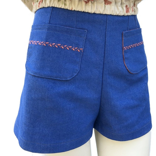 Short denim bleu