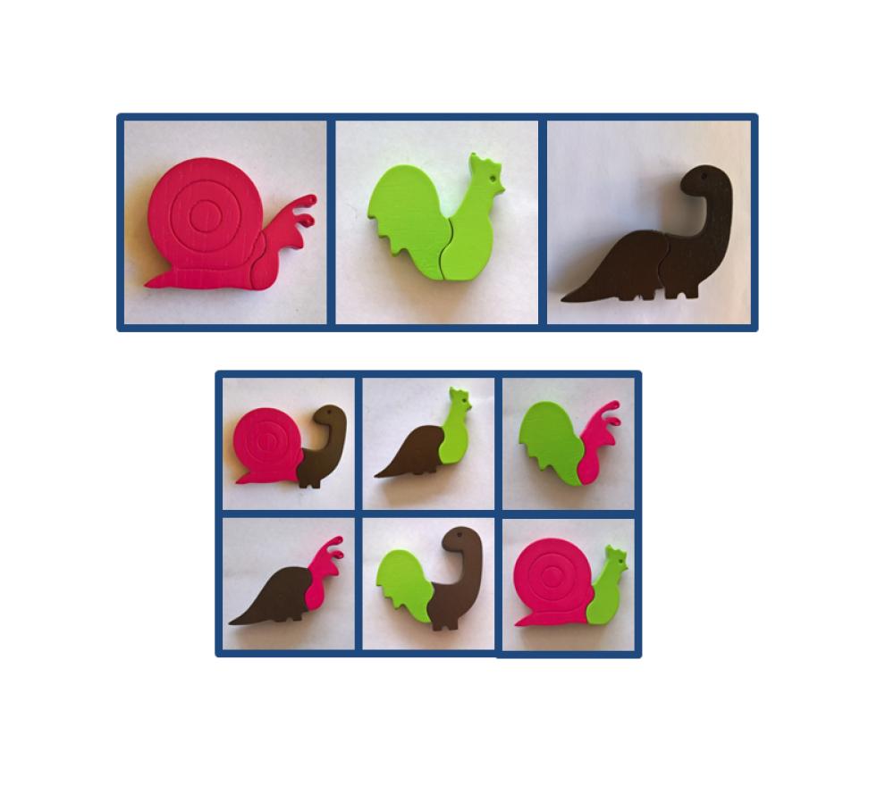 """Magnets animaux - """"Chimères"""" - Coq - Un puzzle éducatif en bois simple et ludique."""
