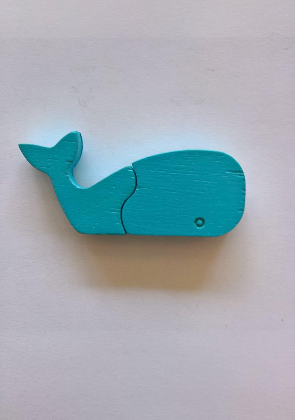 """Magnets animaux - """"Chimères"""" - Baleine - Un puzzle éducatif en bois simple et ludique."""