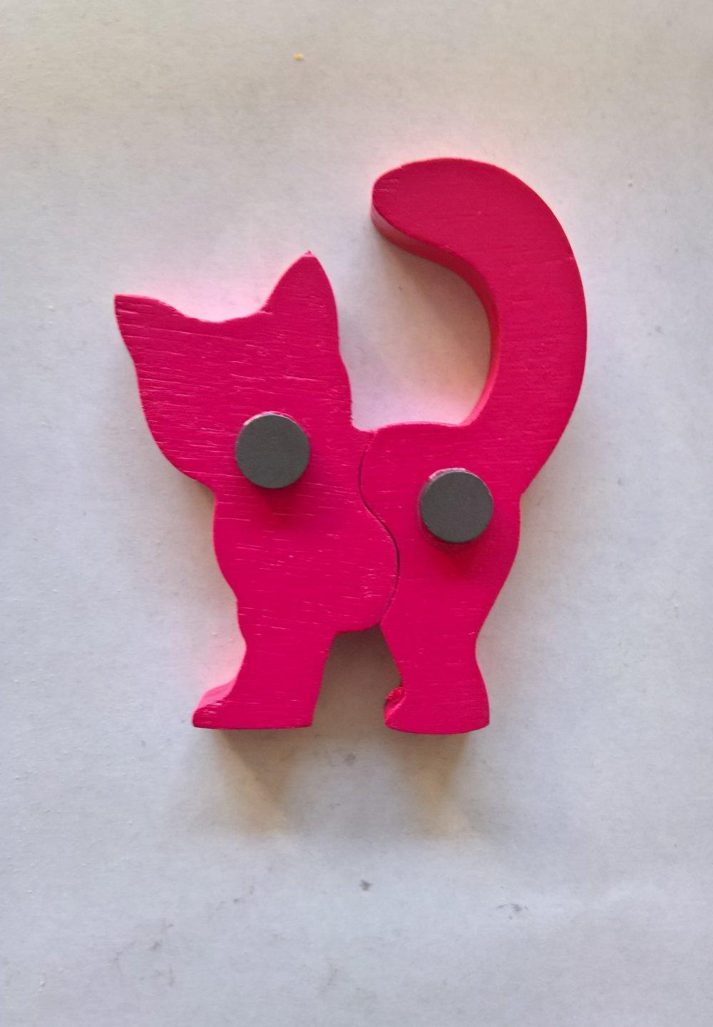 """Magnets animaux - """"Chimères"""" - Chat - Un puzzle éducatif en bois simple et ludique."""