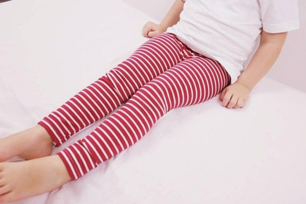 Leggings bébé ou enfant - coton biologique - leggings bebe fille ou garcon - raye rouge blanc