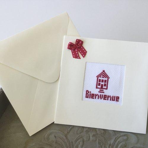 Carte double avec enveloppe brodée bienvenue