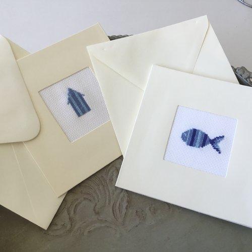 Lot de 2 cartes doubles avec enveloppes motifs bord de mer