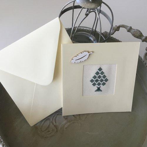 Carte double avec enveloppe printemps