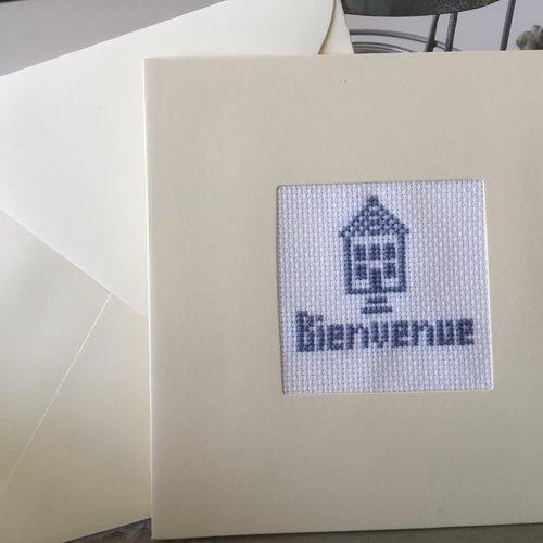 Carte double avec enveloppe bienvenue coloris bleu