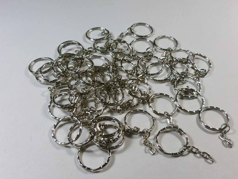 30 Anneaux avec chaîne 21mm porte-clefs