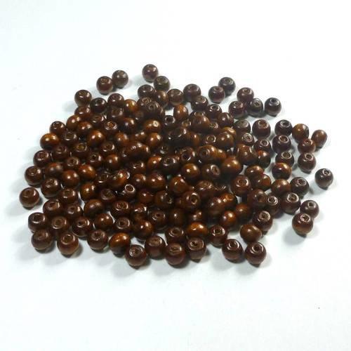 120 perles 8mm en bois rondes café