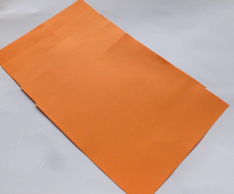 5 feuilles origami 16x16cm orange vif