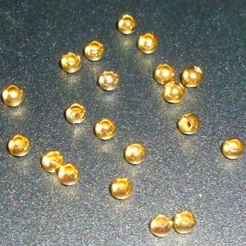 30 perles en métal doré rondes 2mm