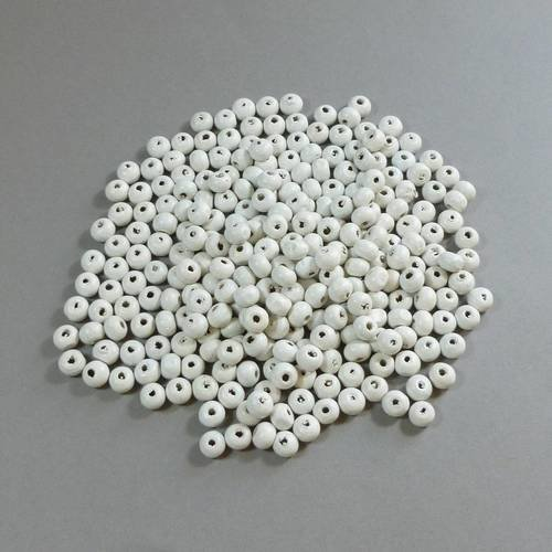 300 perles blanches bois rondes
