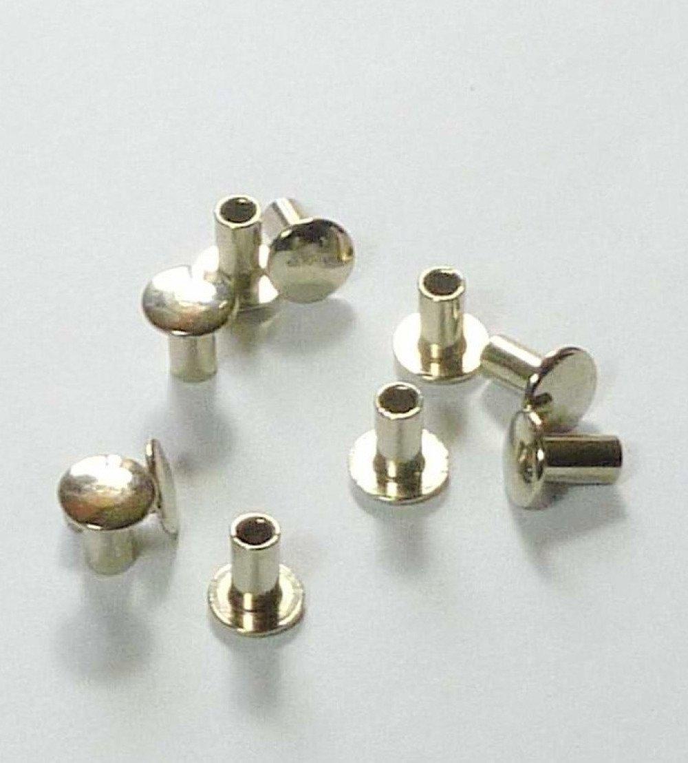 10 rivets 7mm en métal argenté tête plate 1 tête