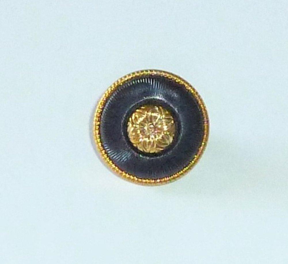 Réf.129 bouton, 15mm, en métal doré et noir, rond