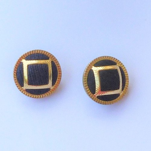 Réf.117 2 boutons, 22mm, en métal noir et doré