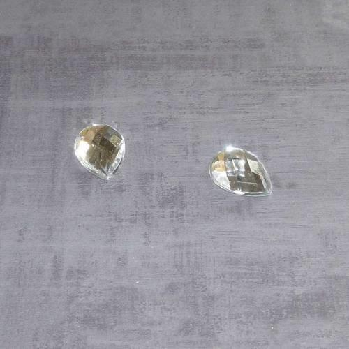 10 cabochons goutte blancs transparents 18x13mm