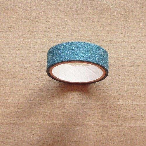 Ruban adhésif masking tape pailleté turquoise