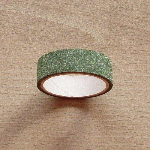 Ruban adhésif masking tape pailleté vert 4m