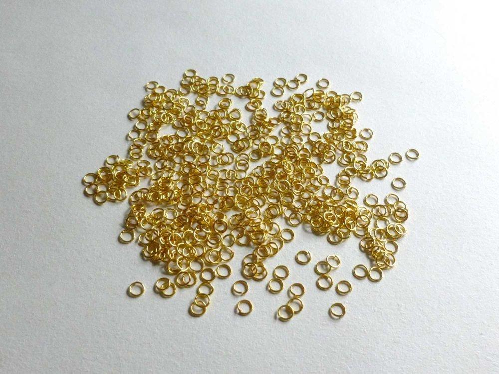 100 anneaux 4mm de jonction doré simples