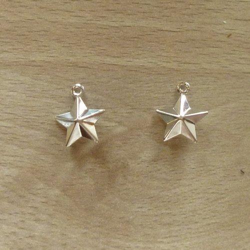 10 étoiles pendentifs argentées clair 15mm