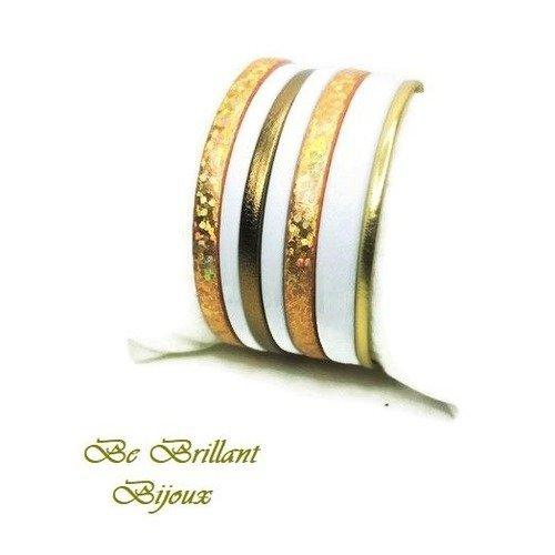 bracelet cuir or blanc